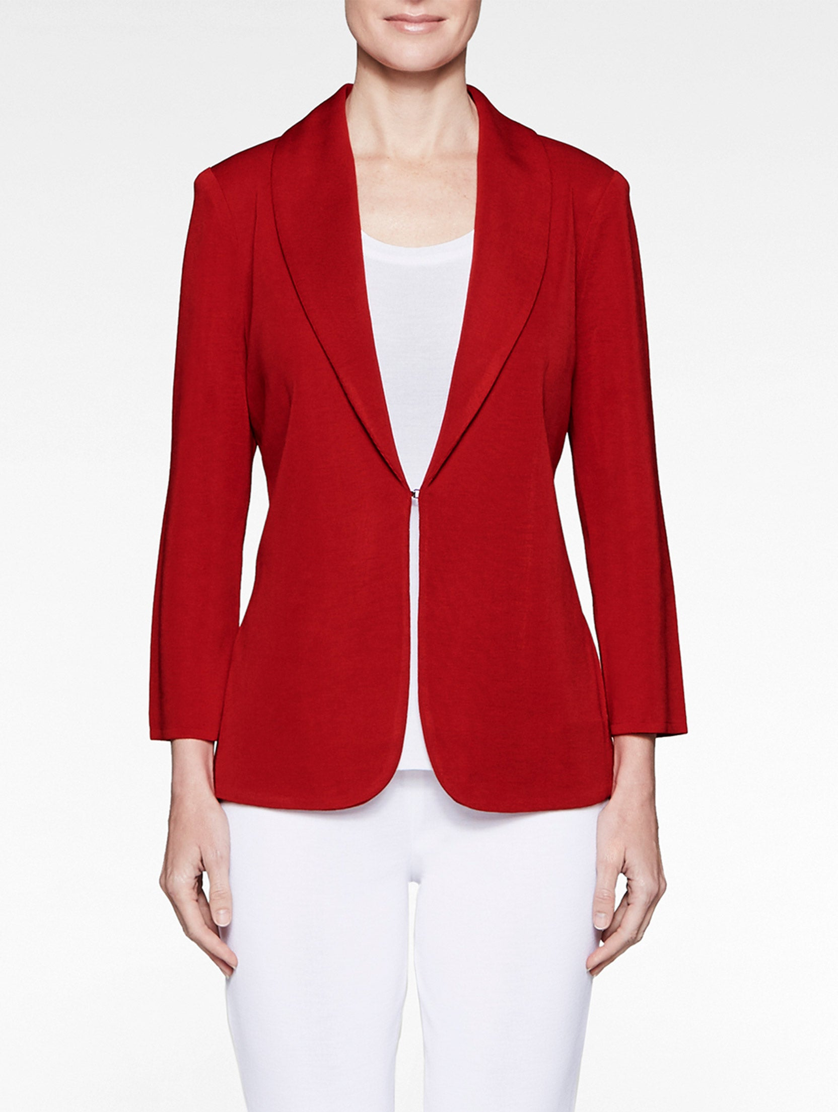 Shawl Collar Fitted Knit Jacket, Red