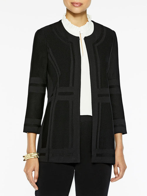 Illusion Framed Knit Jacket in Color Black