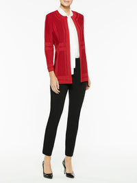 Illusion Framed Knit Jacket in Color Red