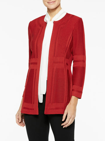 Illusion Framed Knit Jacket, Red