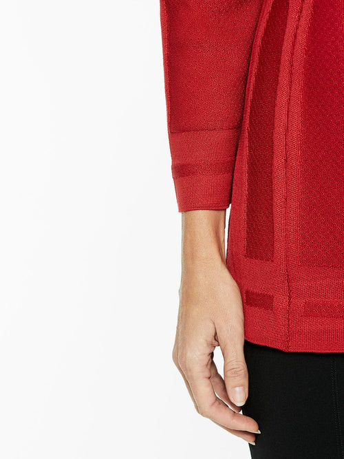 Illusion Framed Knit Jacket in Color Red Premium Detail