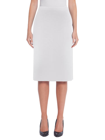 "27"" Straight Knit Skirt, White"