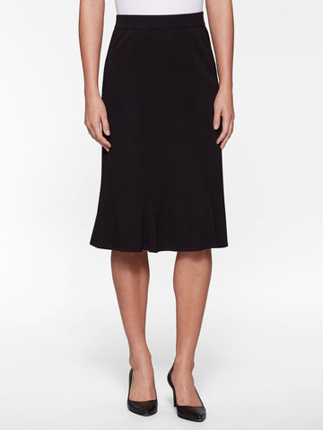 Petite Gored Knit Skirt, Black