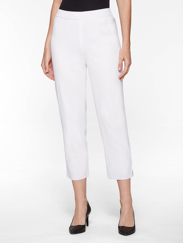 Lined Knit Ankle Pant, White