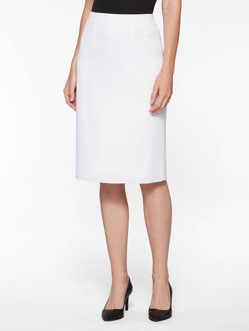 "25"" Lined Straight Knit Skirt, White"