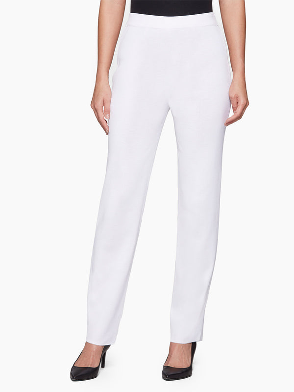 Straight Leg Knit Pant, White – Misook