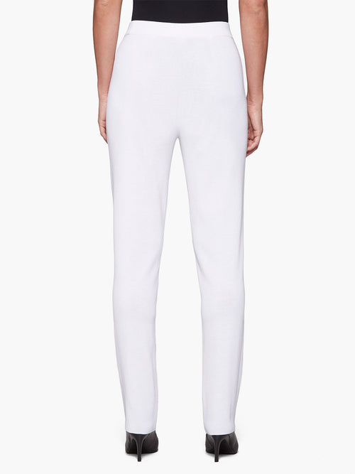 Plus Size Straight Leg Knit Pant, White – Misook
