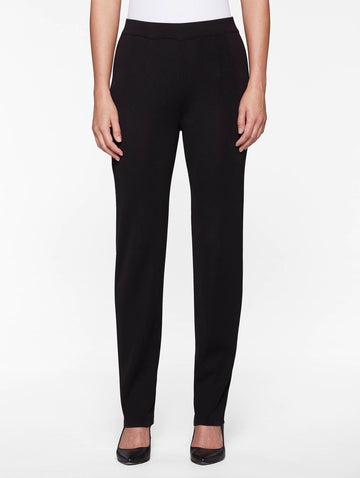 Straight Leg Knit Pant, Black