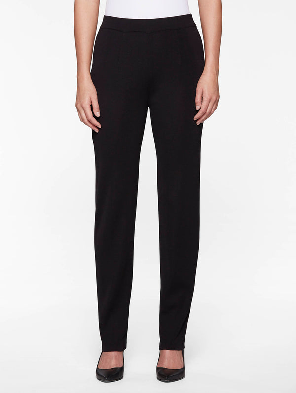 Straight Leg Knit Pant, Black-Misook