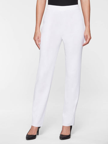 Petite Straight Leg Knit Pant, White