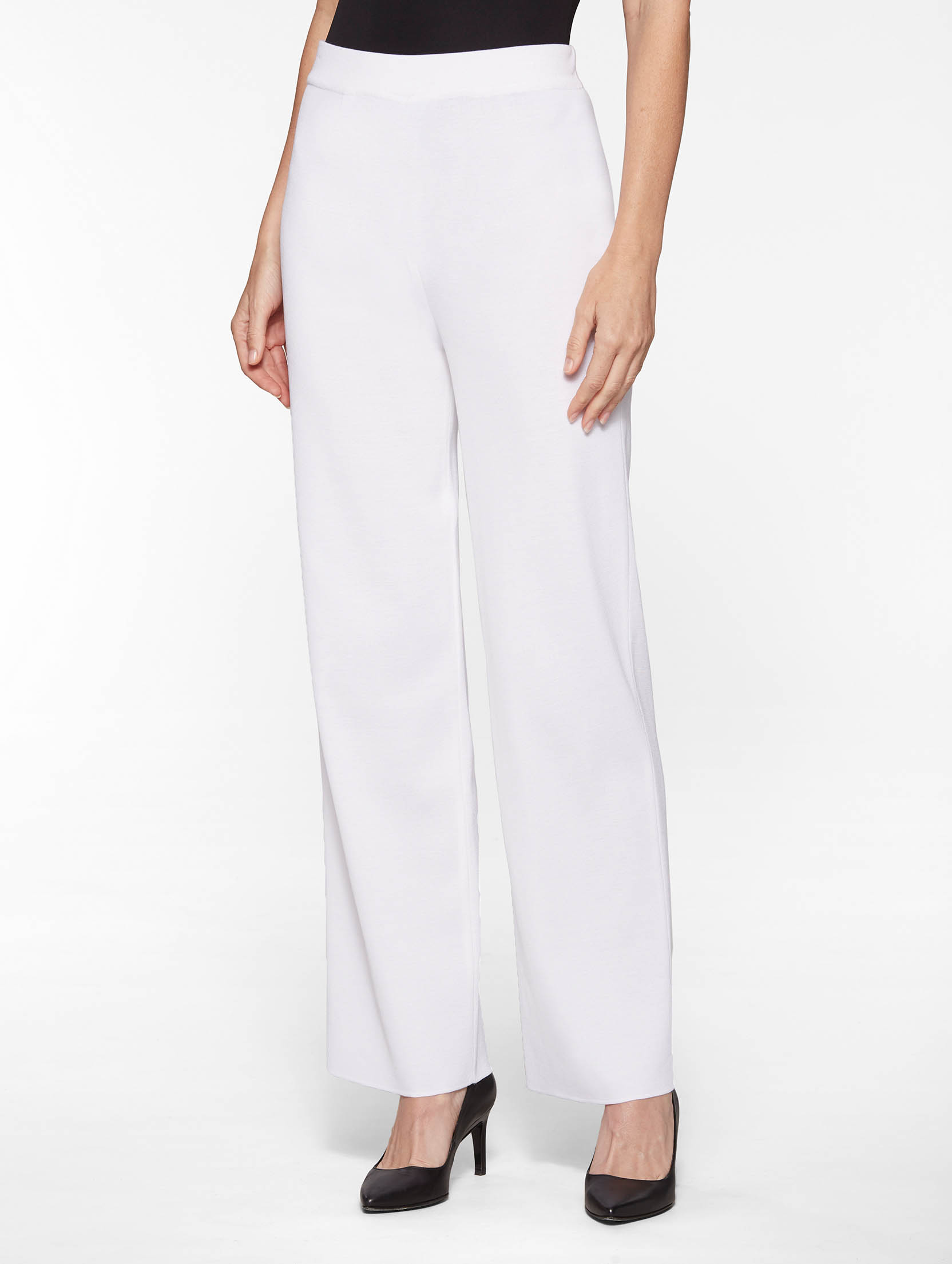 Wide Leg Knit Pant, White