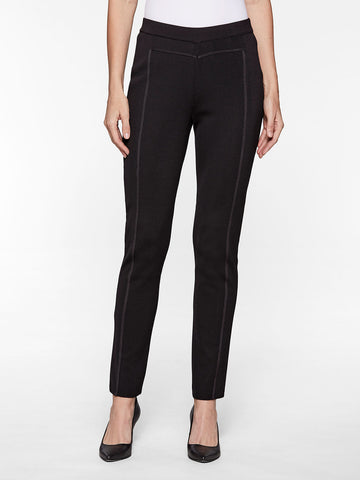 Seam Detail Slim Leg Knit Pant, Black