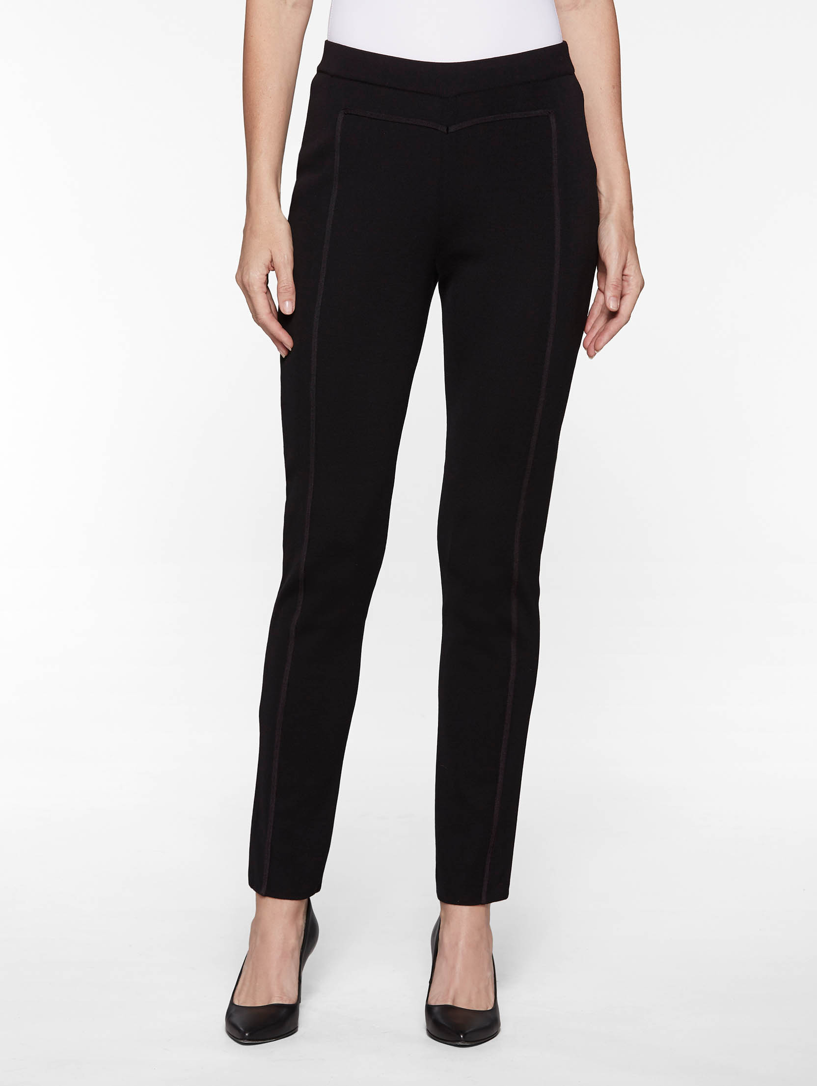 Plus Size Seam Detail Slim Leg Knit Pant, Black