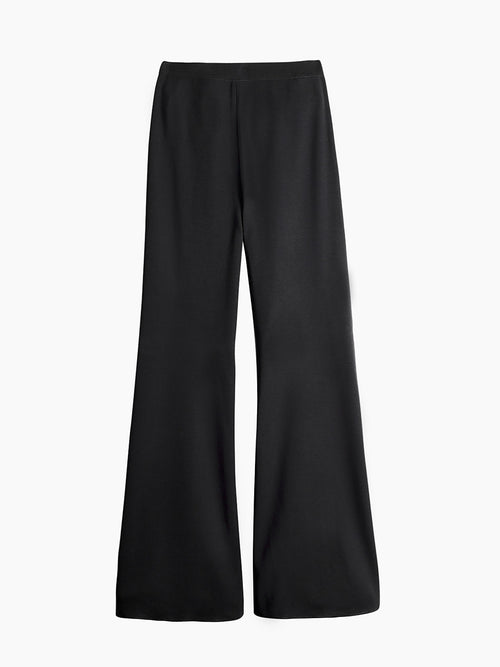Knit Palazzo Pant, Black - Flat-Lay Back