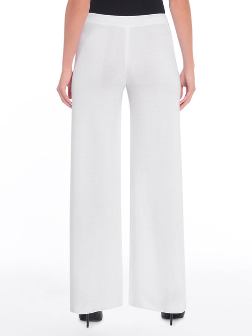 Plus Size Knit Palazzo Pant, White - Back