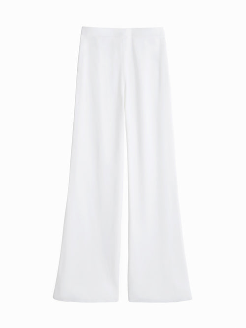 Plus Size Knit Palazzo Pant, White - Flat-Lay Back
