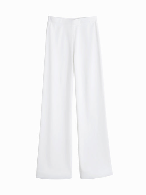Knit Palazzo Pant, White - Flat-Lay Front (Premium Detail)