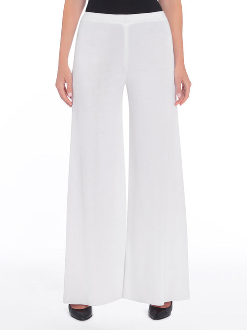 Knit Palazzo Pant, White - Front