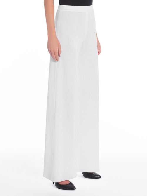 Plus Size Knit Palazzo Pant, White - Side