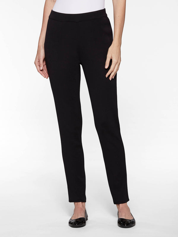 Slim Leg Knit Pant, Black-Misook