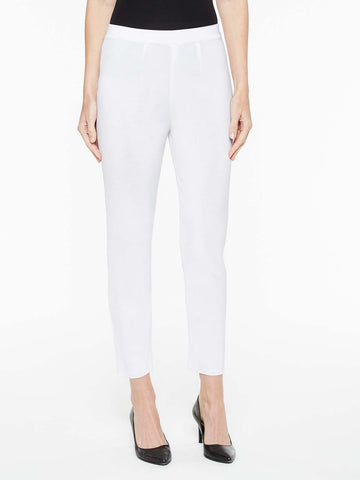 Petite Slim Knit Ankle Pant, White