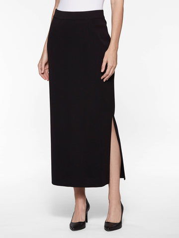 "Plus Size 36"" Straight Knit Skirt, Black"
