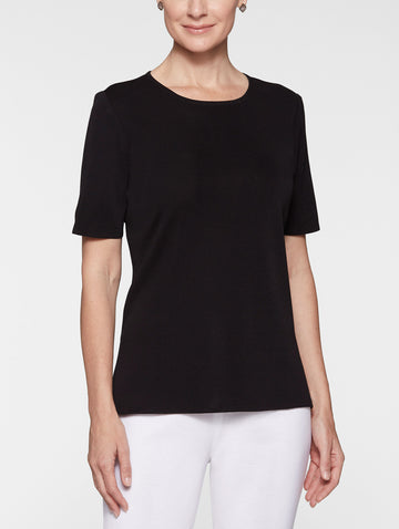 Plus Size Short Sleeve Knit Tunic, Black