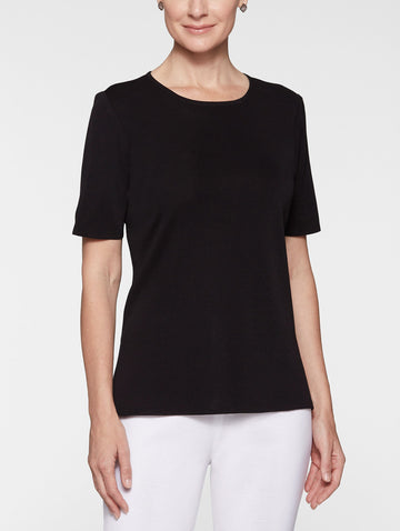 Petite Short Sleeve Knit Tunic, Black