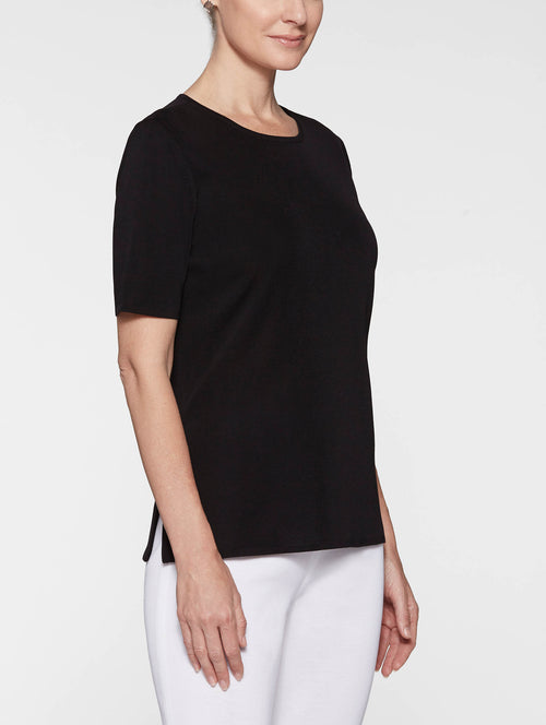 Plus Size Short Sleeve Knit Tunic, Black – Misook