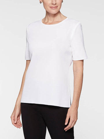 Short Sleeve Knit Tunic, White