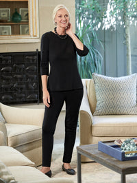3/4 Sleeve Knit Tunic, Black