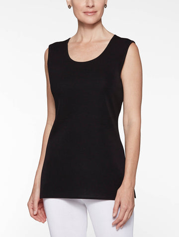 Petite Long Classic Knit Tank Top, Black