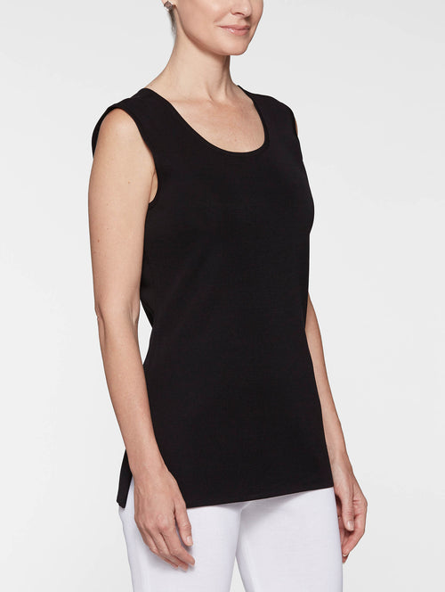 Plus Size Long Classic Knit Tank Top, Black – Misook