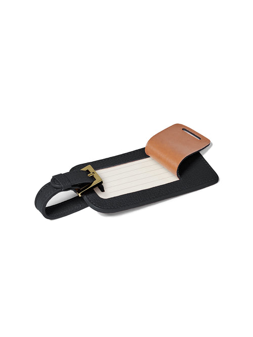 Deluxe Luggage Tag with Gold Buckle and Open Full Back Privacy Cover for Example in Color Black