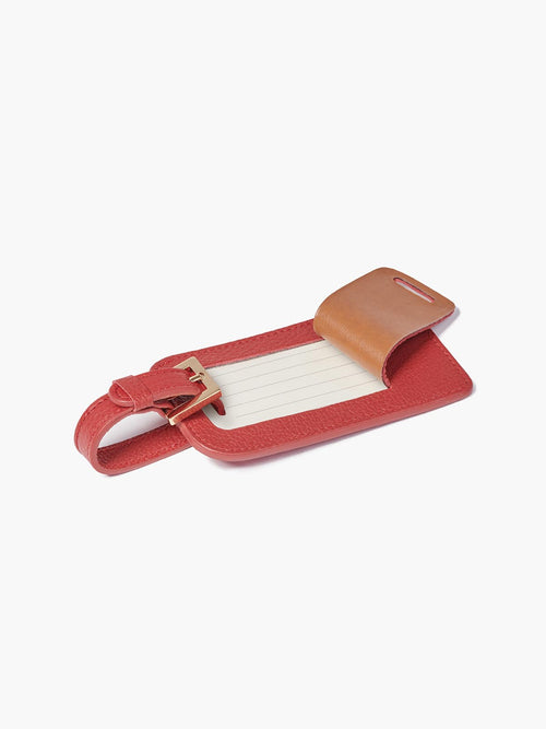 Deluxe Luggage Tag with Gold Buckle and Open Full Back Privacy Cover for Example in Color Red