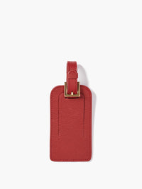 Deluxe Luggage Tag with Gold Buckle and Full Back Privacy Cover in Color Red