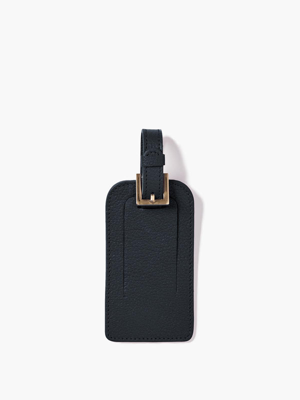 Deluxe Luggage Tag with Gold Buckle and Full Back Privacy Cover in Color Navy Blue