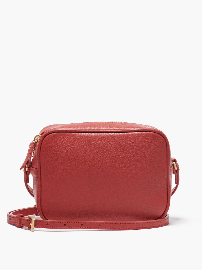 Hampton Crossbody Bag with Adjustable Shoulder Strap and Gold Finishes in Color Red