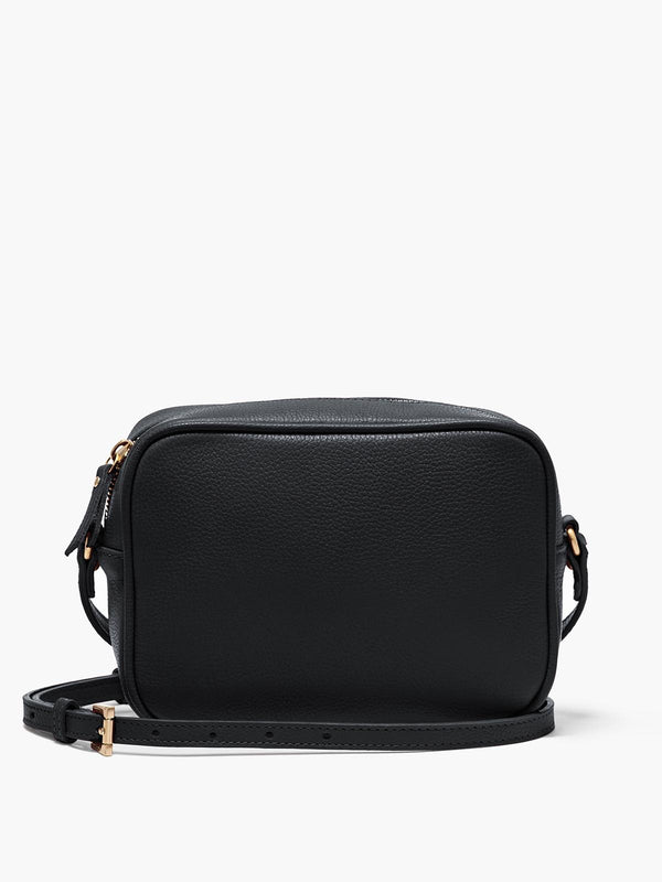 Hampton Crossbody Bag with Adjustable Shoulder Strap and Gold Finishes in Color Black