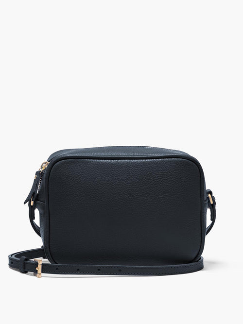 Hampton Crossbody Bag with Adjustable Shoulder Strap and Gold Finishes in Color Navy Blue
