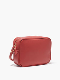 Hampton Crossbody Bag Side View of Zipper and Gold Finishes in Color Red