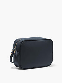 Hampton Crossbody Bag Side View of Zipper and Gold Finishes in Color Navy Blue