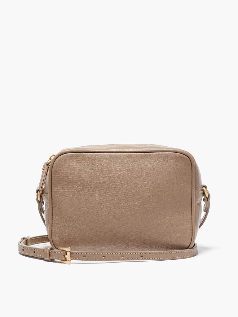 Hampton Crossbody Bag with Adjustable Shoulder Strap and Gold Finishes in Color Taupe
