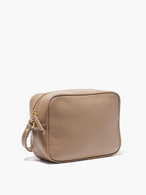 Hampton Crossbody Bag Side View of Zipper and Gold Finishes in Color Taupe