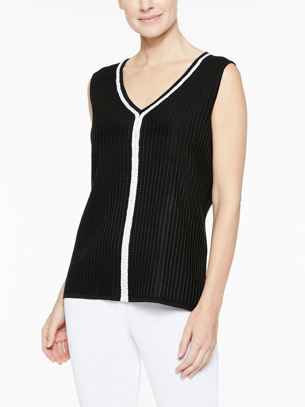 Braided Trim Knit Tank Top, Black/White