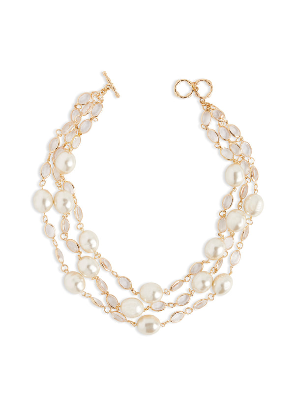Large Pearl and Crystal Necklace – Misook