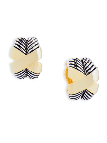 Two-Tone Cross Clip Earrings