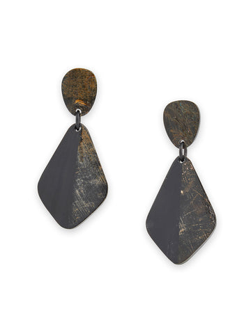 Dark Resin Drop Pierced Earrings