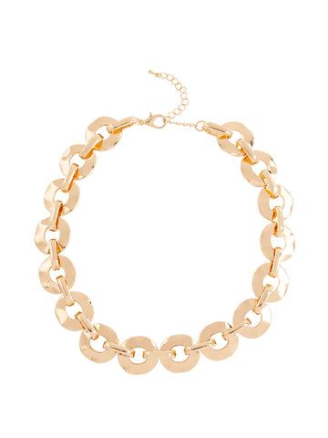 Gold Rippled Link Necklace