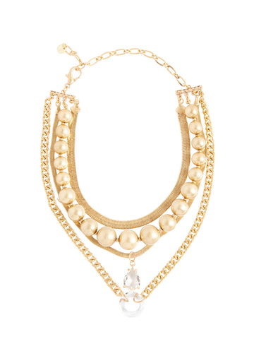 Layered Matte Gold Crystal Pendant Necklace